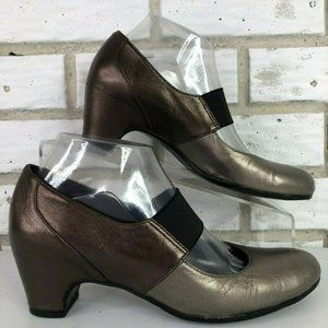 Vaneli Brown/Silver Leather Mary Jane Pumps